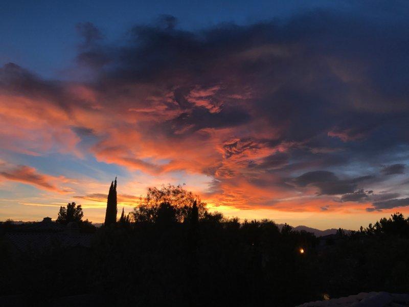 Night view from balcony of Villa