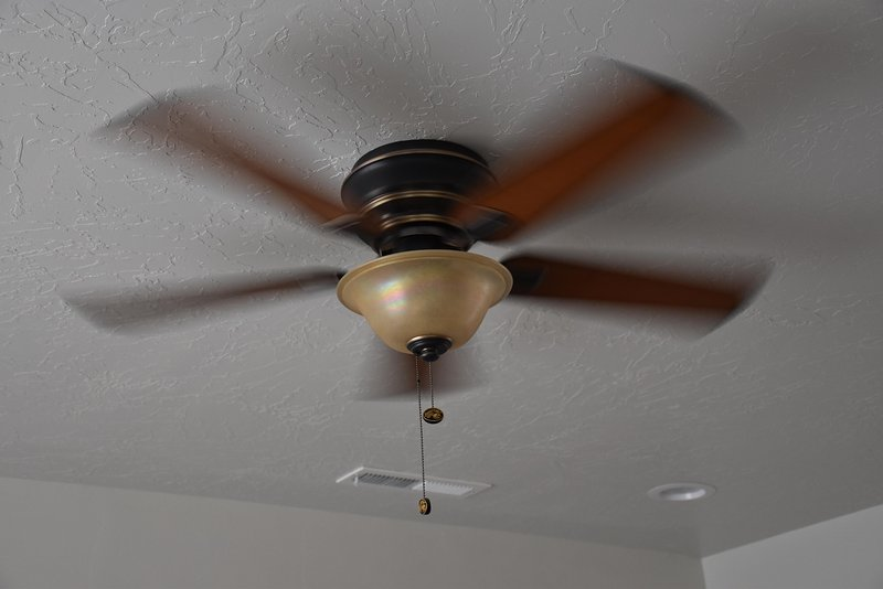 Each room has its own ceiling fan