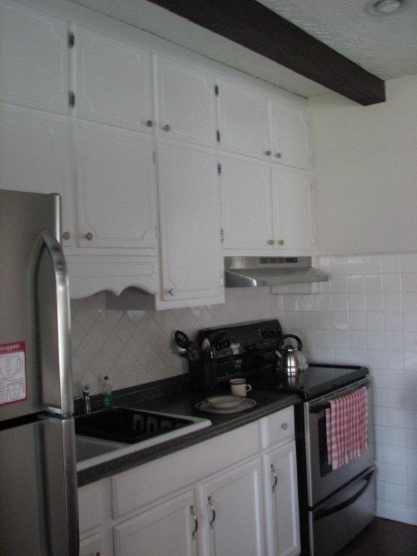 Fully stocked open kitchen