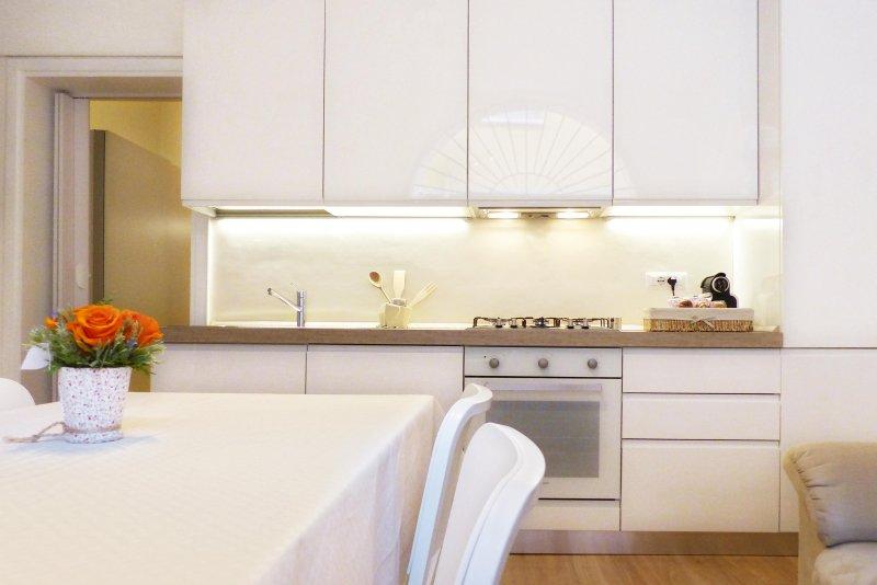 La cucina; con forno ventilato, lavastoviglie, frigo e freezer.