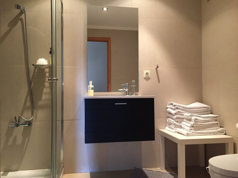 Hay 2 cuartos de baño modernos, cada uno con ducha. toallas incluidas