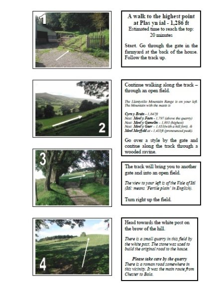 Step by step guide to take you on a walk from the accommodation to vantage point (20mins walk).