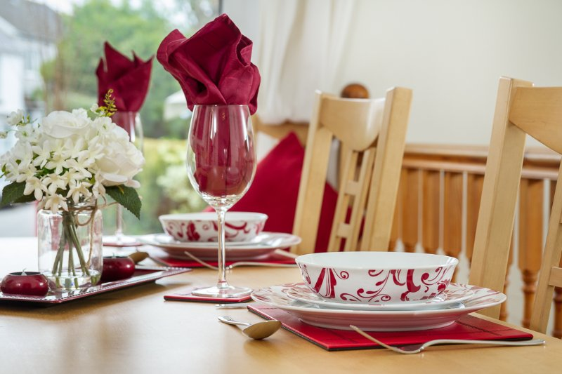 Dining at Pilton House Gower is always enjoyable, with plenty of elbow space around the table.