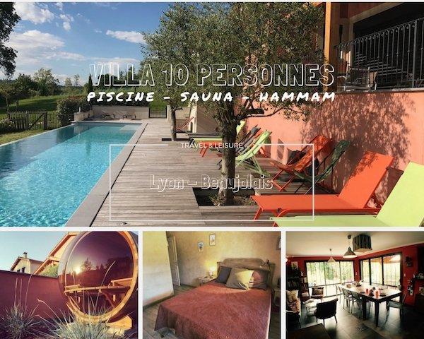 Villa to rent, near Lyon, and Beaujolais : 20m long swimming pool, sauna, hammam