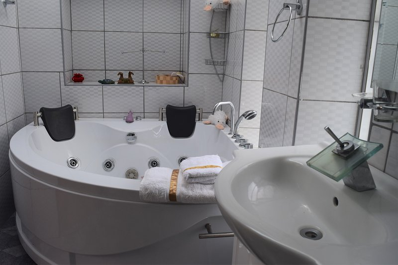 This is the view of the Jacuzzi in the master bathroom