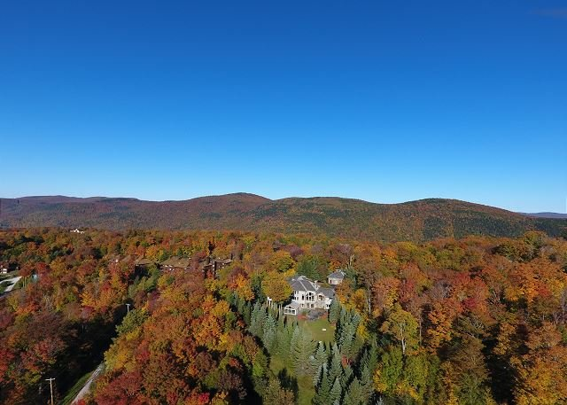 Glorius Aerial View of the Mountainside House