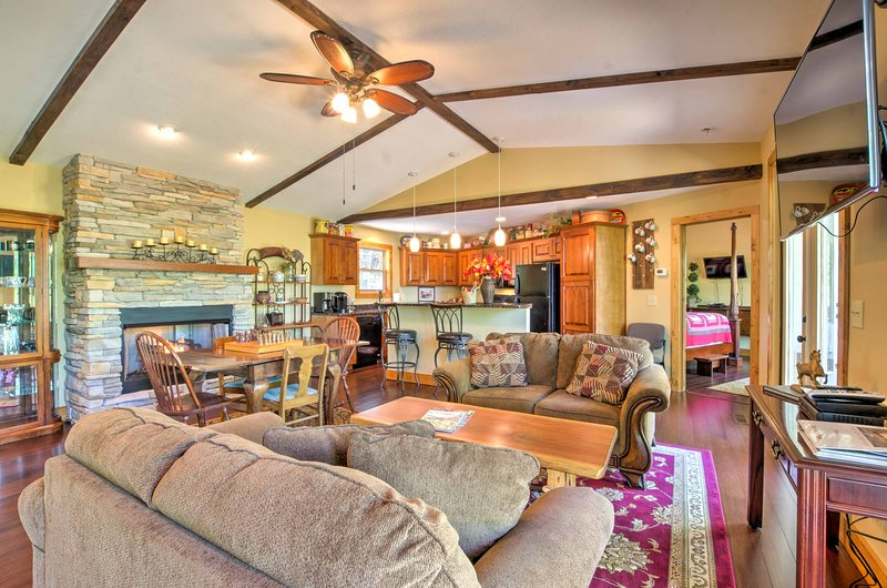 Embellished with wood accents, the beautiful interior offers a homey feel