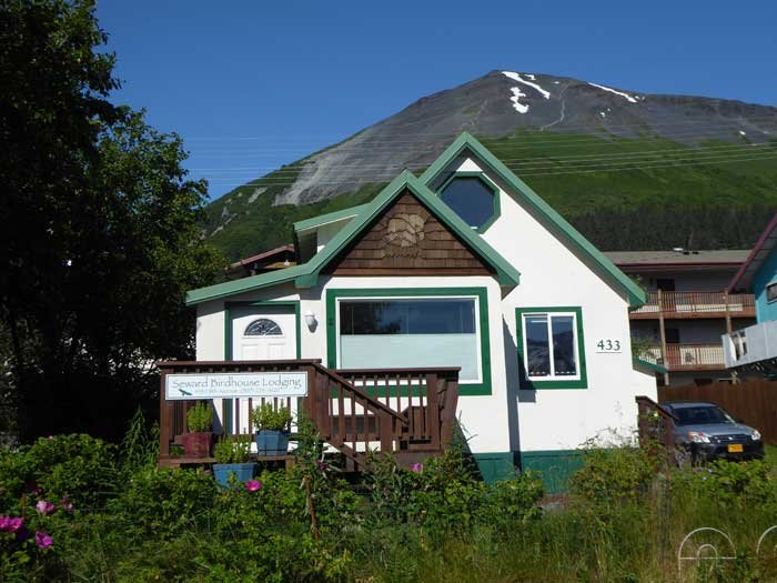 Seward Birdhouse and famous Mount Marathon