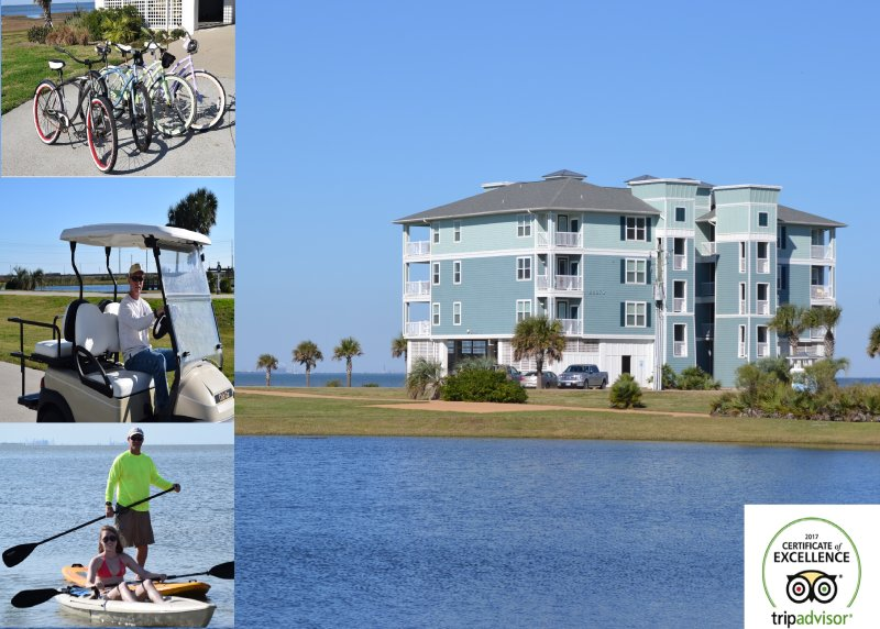 ArthurBeachBay - Waterfront 3BR - Spectacular View - Kayaks Bicycles Golf Cart, holiday rental in Galveston Island
