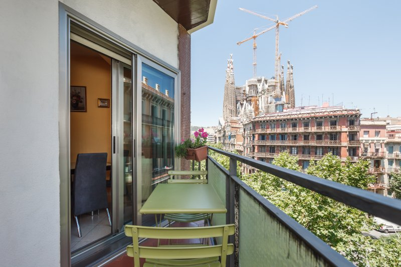Balcony view to Sagrada Familia (double sliding doors with double-glazing for insulation)