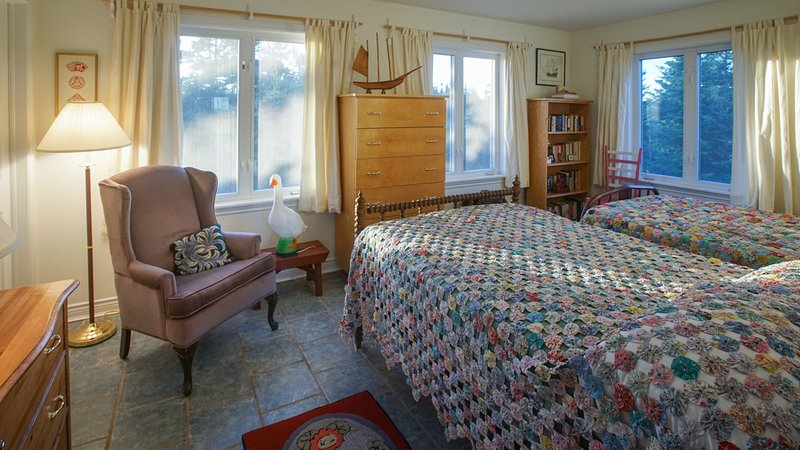 2nd bedroom - 2 vintage double beds, with handmade Nova Scotia quilts