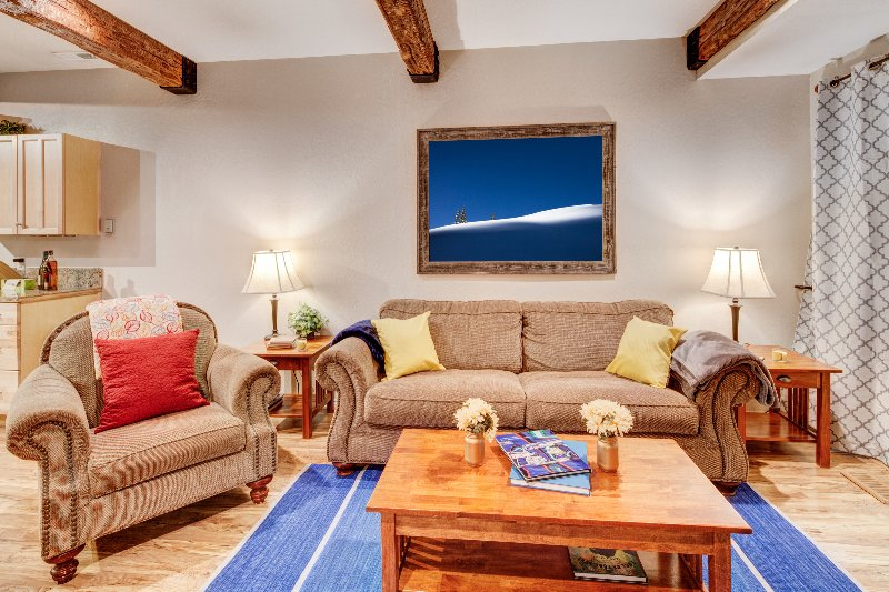 Unwind after a day on the slopes! Plenty of seating, flatscreen TV, fireplace