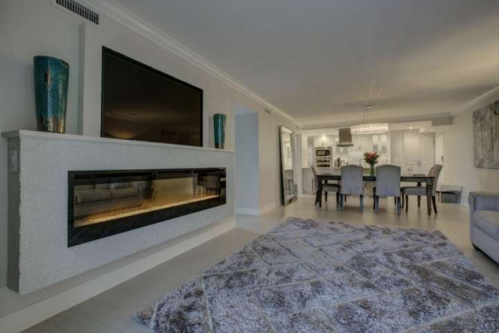 Gas fire feature with remote start and large flat screen TV
