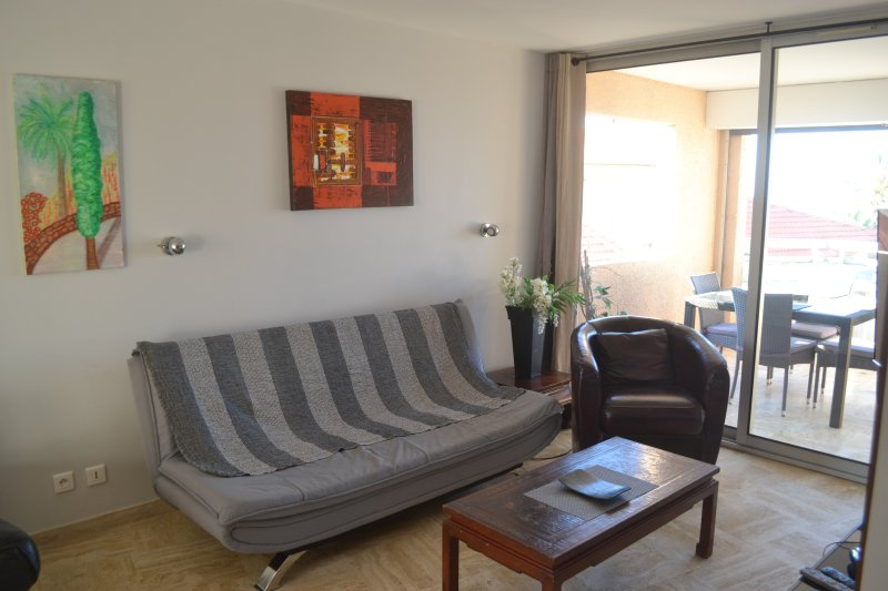 balcon avant et salon avec canapé-lit Clic-clac (lits 5 et 6)