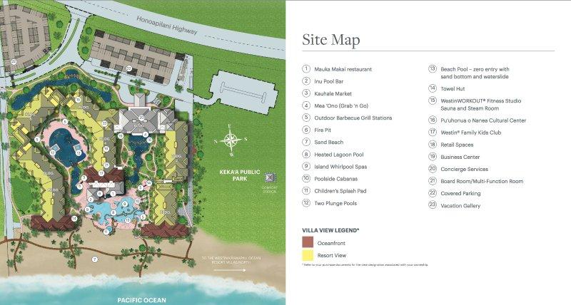 The Westin Nanea Ocean Villas property map.