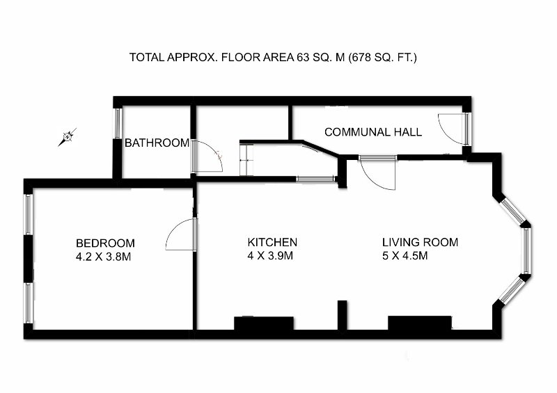 Floorplan of the apartment showing the front door and self-contained area