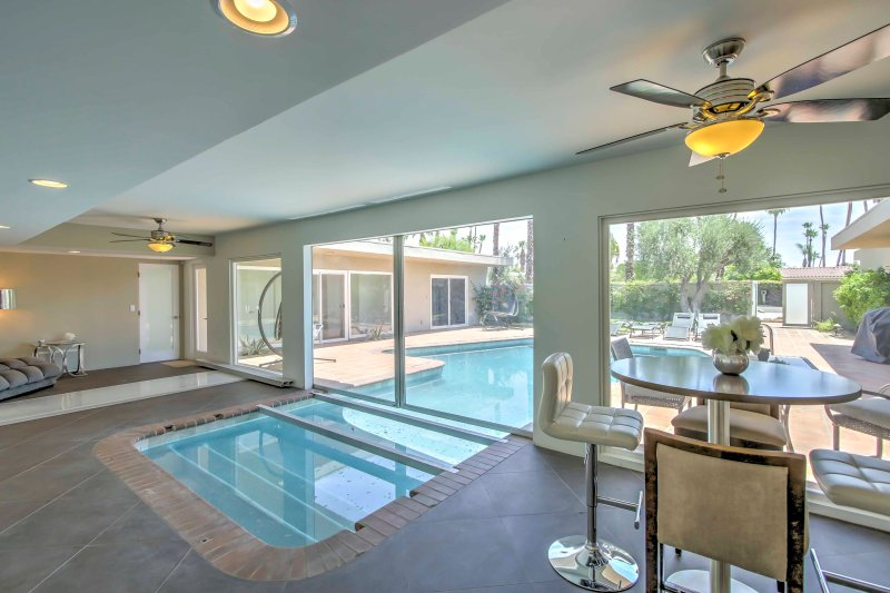 Enter and exit the pool from inside of the house!