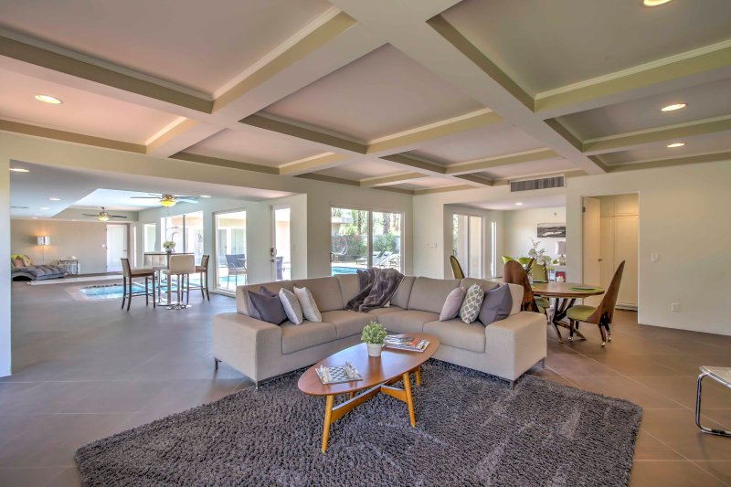 The spacious home was recently remodeled and features modern decor.