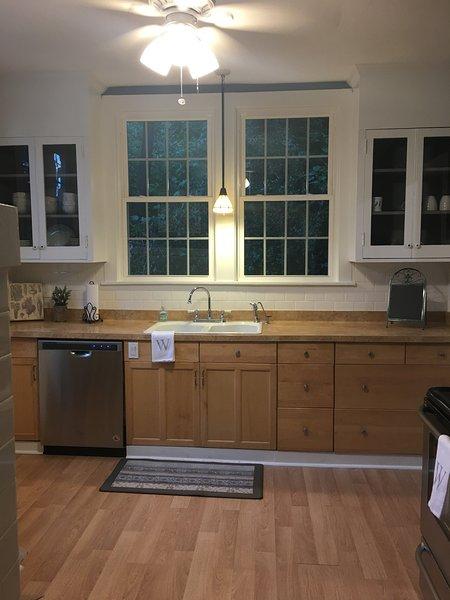 Cuisine avec des appareils en acier inoxydable - lave-vaisselle, cuisinière, réfrigérateur, élimination des ordures