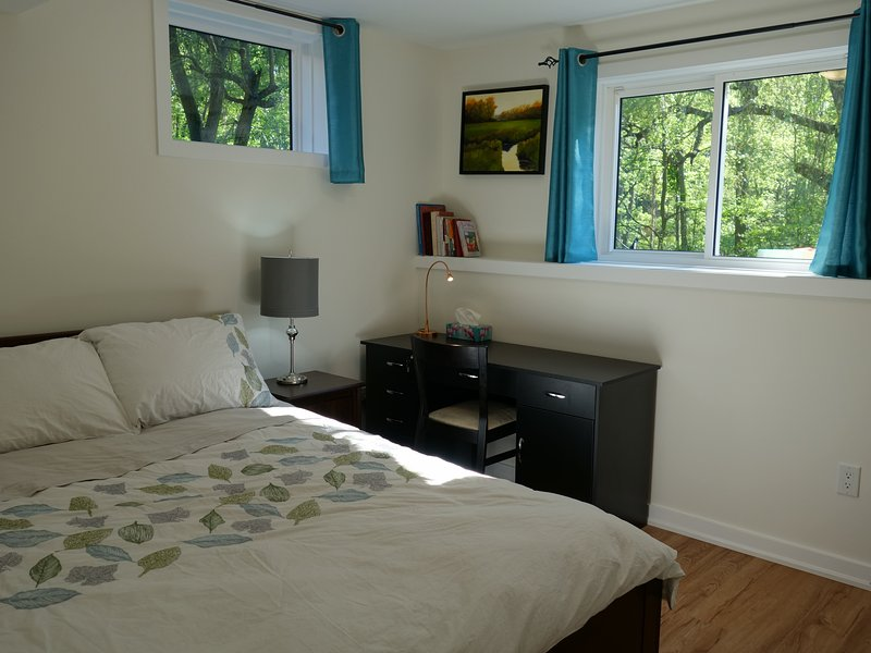Luxurious 100% cotton linens, fluffy duvet, fresh furnishings, desk with drawers, full closet.