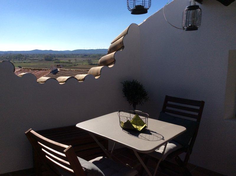 Terrace overlooking the Corbiere Hills