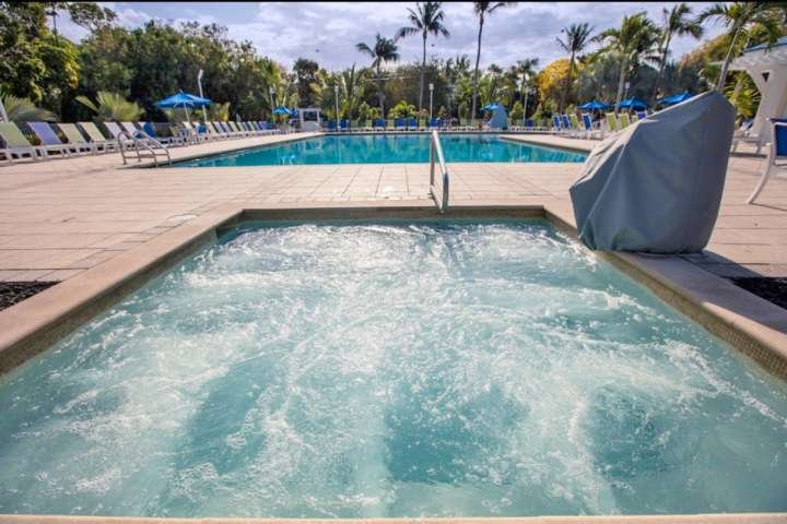 Relax in the large, 14-person jacuzzi, while sipping on your favorite drink from the bar, just a few feet away.