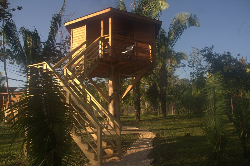 Tree house with pool access, it has Queen bed, ven, mini bar, coffee maker, porch, shower.