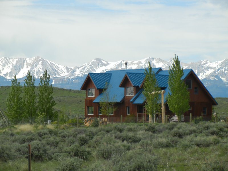 House and view of the Bridger Mountains.