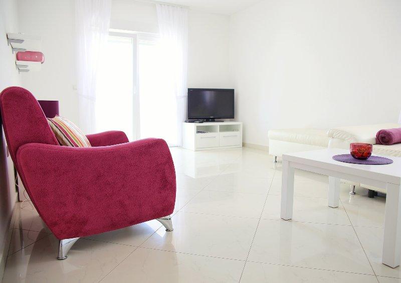 Salon avec télévision à écran plat et AC