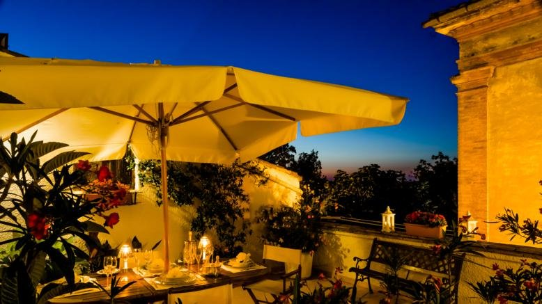 Terrace dinner by candlelight