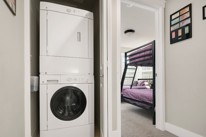 The home is equipped with a washer and dryer.
