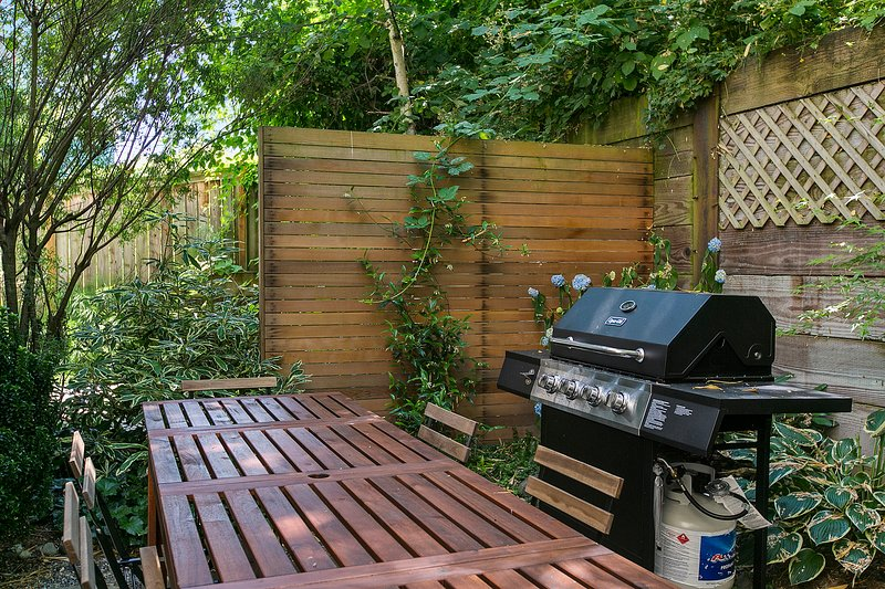 Quiet patio with grill