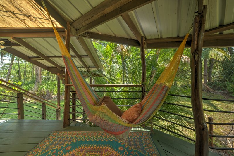 The hammock is great for taking afternoon naps, or even for sleeping in at night!