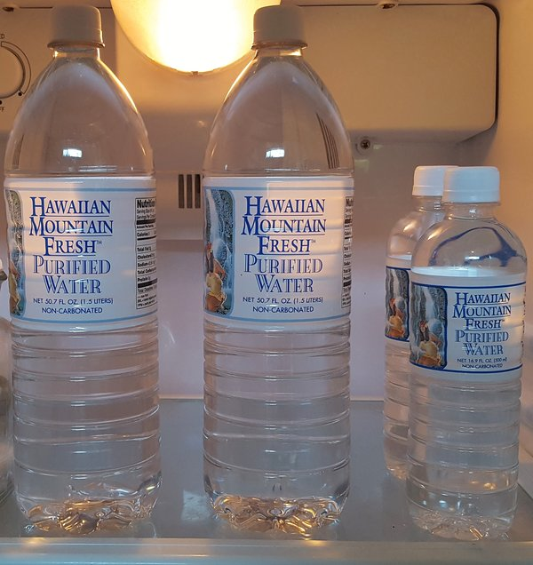 Complimentary Menehune Water cooling in refrigerator