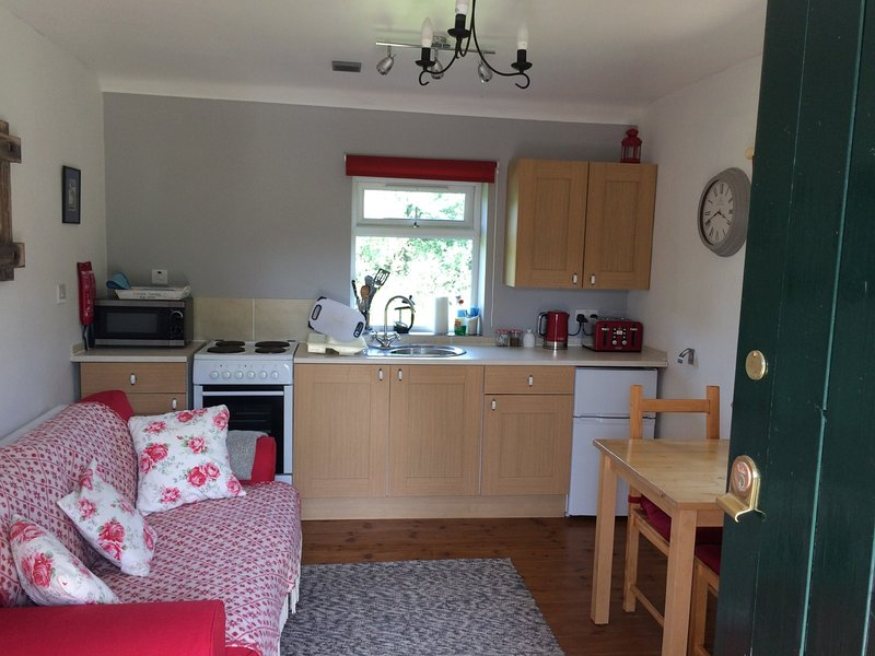 kitchen/living room with appliances supplied.