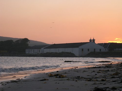 View of Port Ellen distillery/maltings from end of lane.