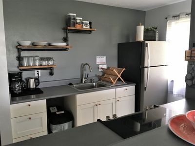 A full kitchen makes cooking a breeze.  We provide coffee and tea.
