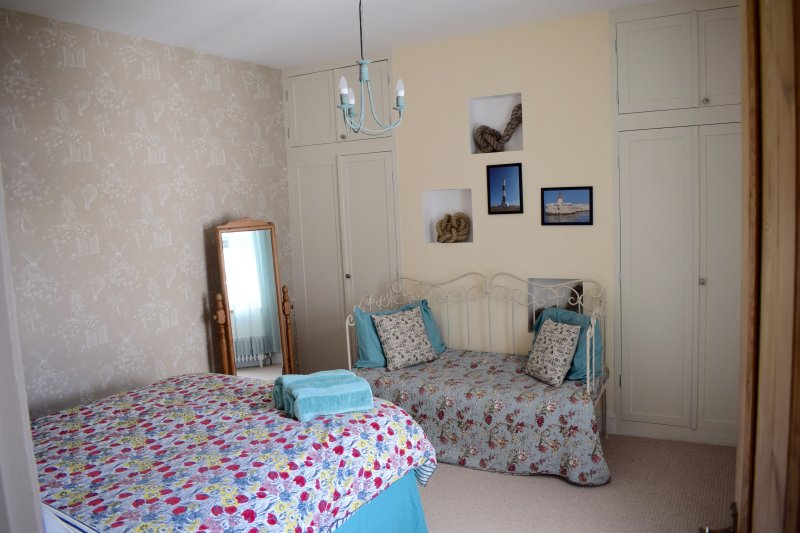 Bedroom 2 with double bed and day bed which will sleep a small child.
