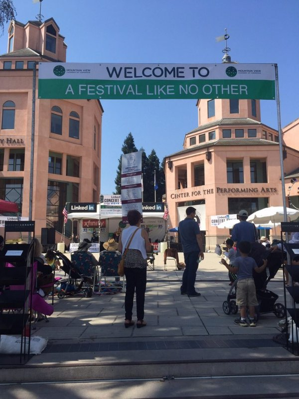 This is located in downtown Mountain View, California. It hosts a variety of arts events