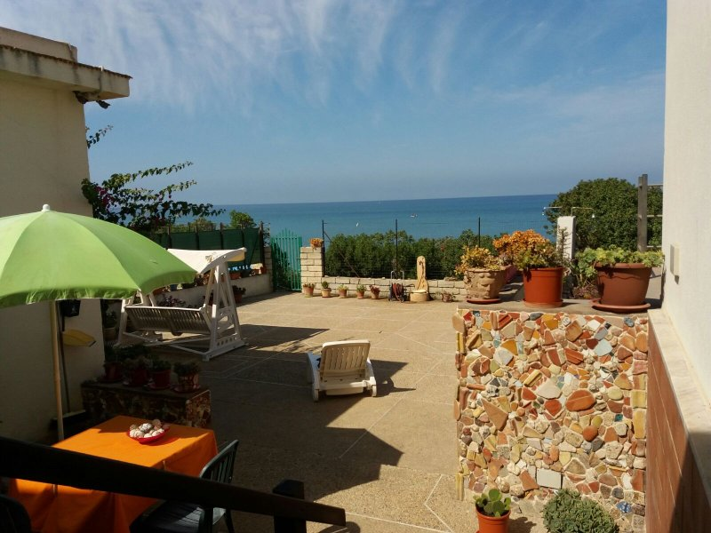 The view from the terrace over the courtyard to the Mediteramnean Sea