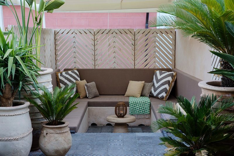 Roof terrace seating area.