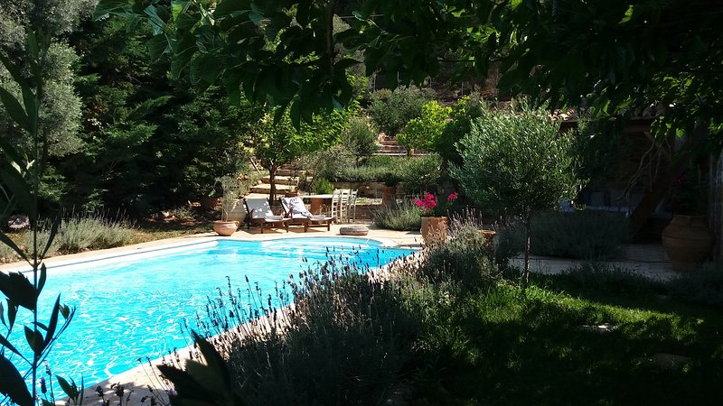 Evia Nerotrivia-Dafni beach private pool 99km from Athens up to 7ps, casa vacanza a Limnionas