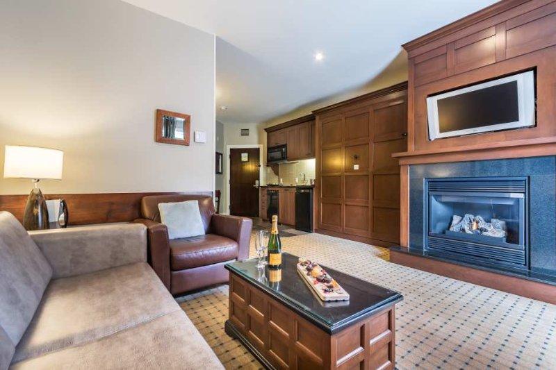 Elegante sala de estar possui uma HDTV de tela plana e lareira a gás
