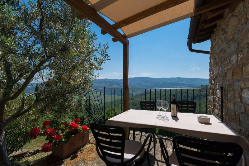 Patio of the apt. with a great view on the surrounding hills