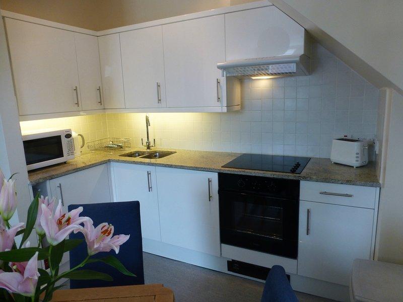 cucina completamente attrezzata con scomparsa lavatrice / asciugatrice, frigo / freezer e granito piani di lavoro.