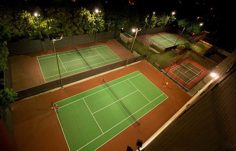 Tennis courts within the apartment complex