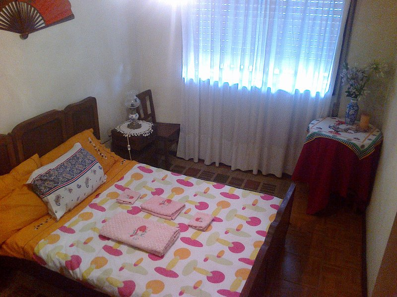 Bedroom: Double Bed, Wardrobe, 2 bedside tables, 2 lamps, heater, Chair and Table Support