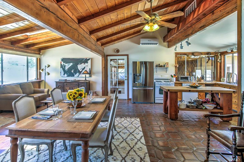 Vaulted wood ceilings add warmth to the space.