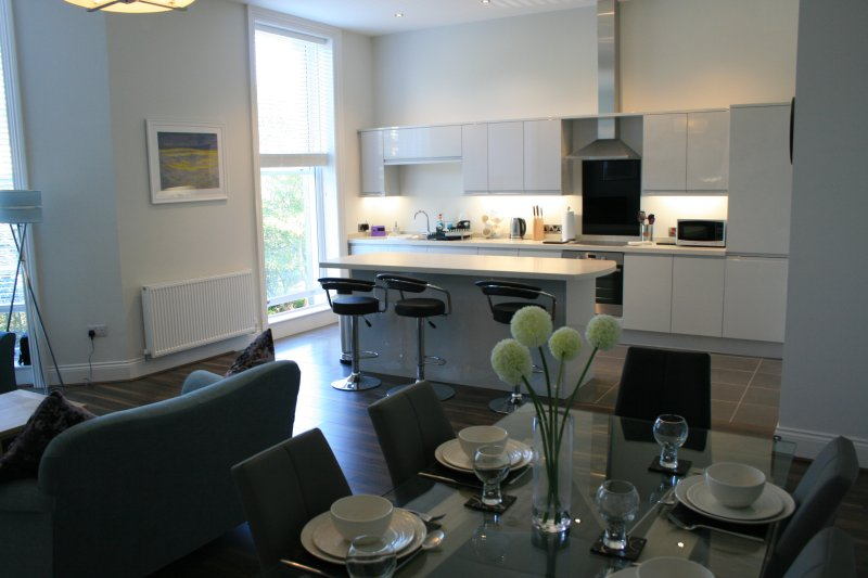 Spacious open plan living and dining with a contemporary and eye catching kitchen