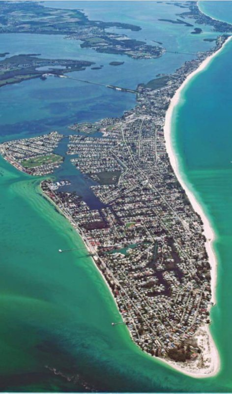 Aerial View of Anna Maria Island. Coquina Moorings is north of Cortez Bridge in narrow area.